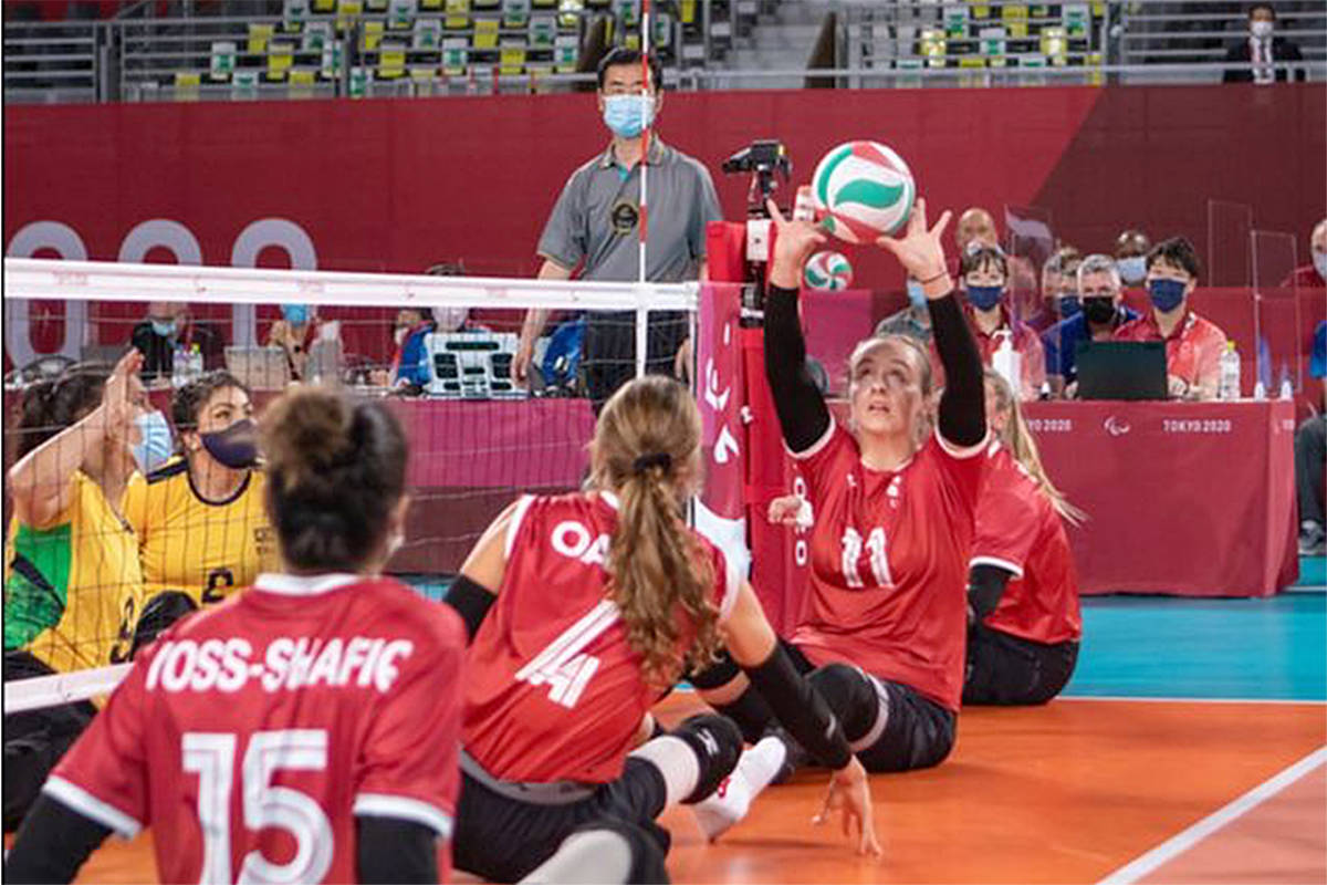 Captain Danielle Ellis of Langley and the Canadian sitting volleyball team fell to Brazil today in the Paralympics happening in Tokyo. They play next Sunday, at 2 p.m. – their time. (World ParaVolley/Special to Langley Advance Times)