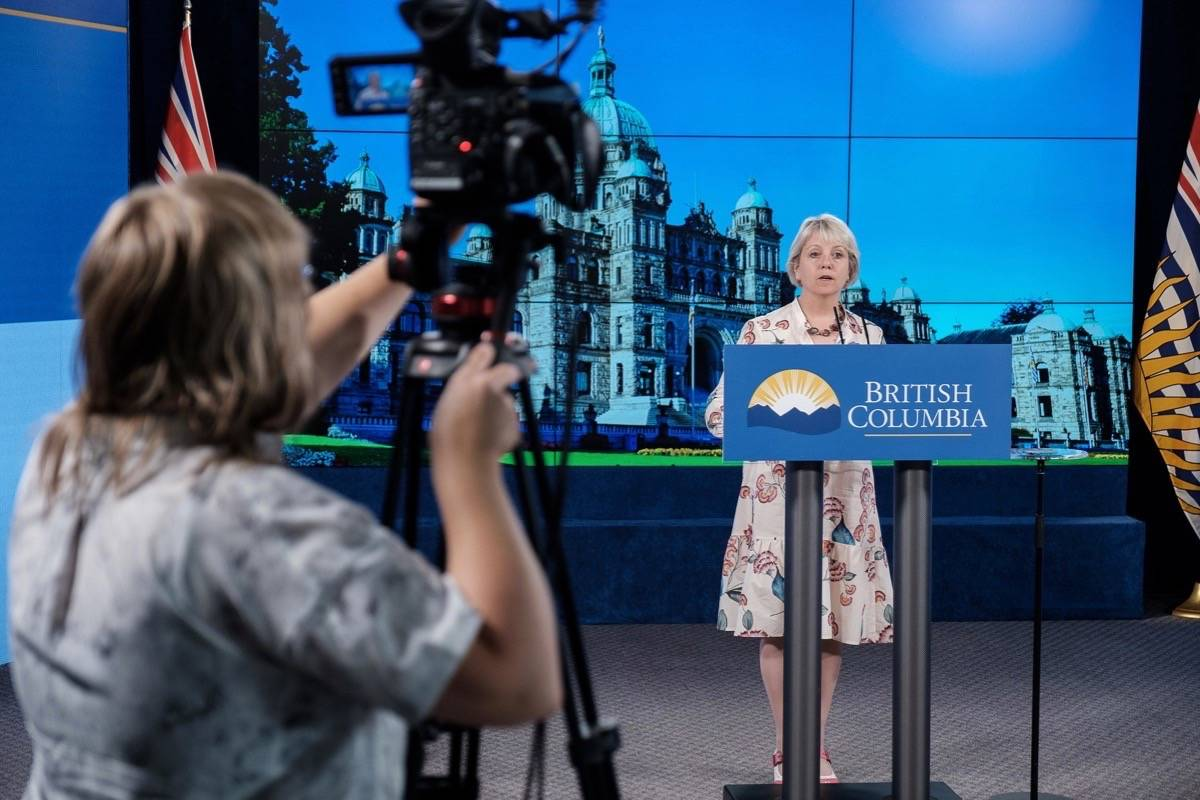 Provincial health officer Dr. Bonnie Henry speaks about the province's COVID-19 situation from Vancouver, Aug. 12, 2021. (B.C. government photo)
