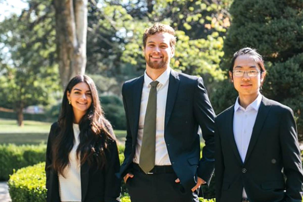 Trinity fellows Rachel Sousa (left), David Kon, and Aaron Paetkau begin a year-long internships with TWU executive leaders. (TWU/Special to Langley Advance Times)