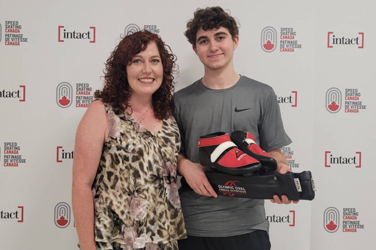 Sam Green with his mother and former Olympic medalist, Eden Donatelli Green. Green has been skating since he was three-years old and now lives in Calgary to train while doing school remotely. Sumbitted photo.