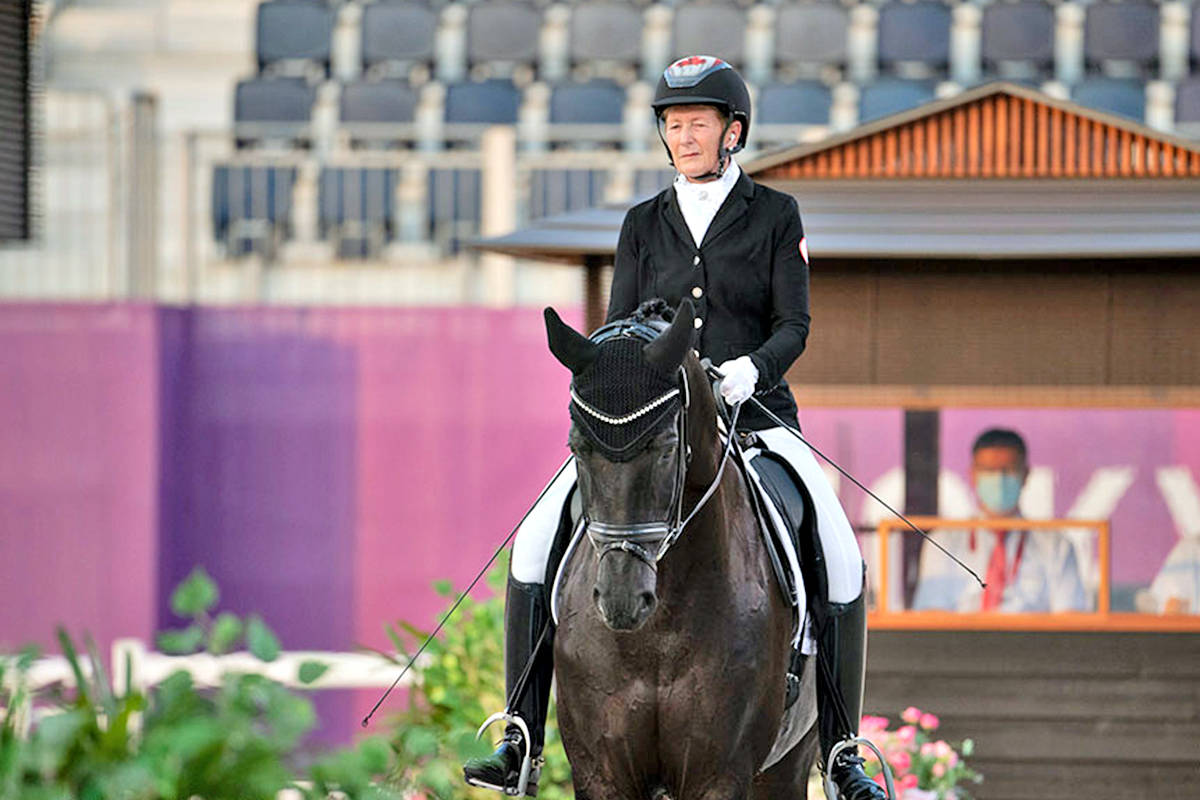 South Langley rider Nonie Hartvikson and Onyx set the pace for Canada in day one of the Team Test on Aug. 28, at the Tokyo 2020 Paralympic Games in Japan. (Jon Stroud Media/special to Langley Advance Times)
