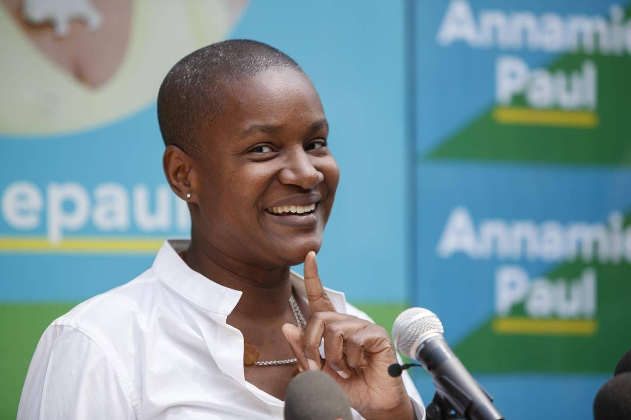 Green Party Leader Annamie Paul answers questions during a press conference as she officially opens her campaign office in Toronto Centre, Thursday, July 22, 2021. THE CANADIAN PRESS/Cole Burston