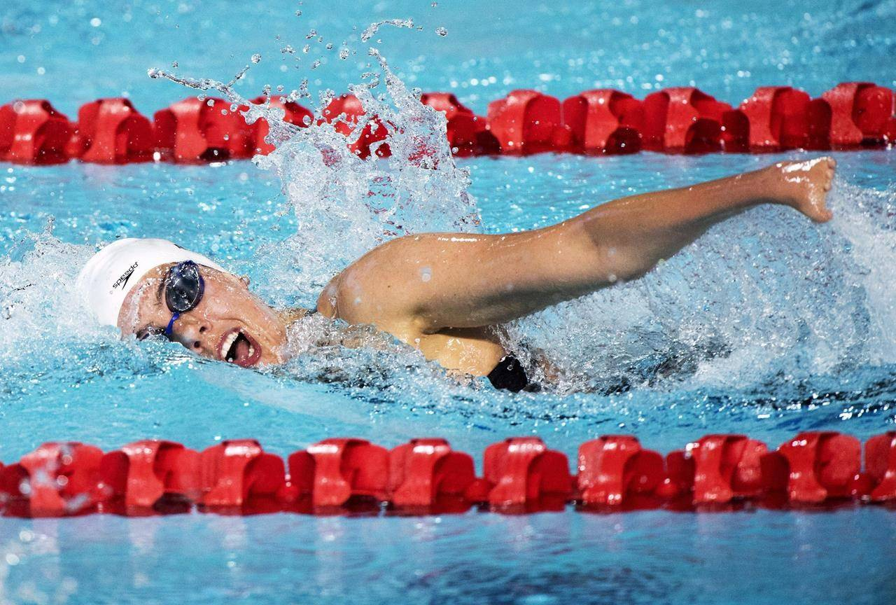 Canada's Aurelie Rivard swims her way to a silver medal for the women's SM10(Para) 200m Individual Medley during the swimming finals at the Commonwealth Games in Gold Coast, Australia, Saturday, April 7, 2018. THE CANADIAN PRESS/Ryan Remiorz