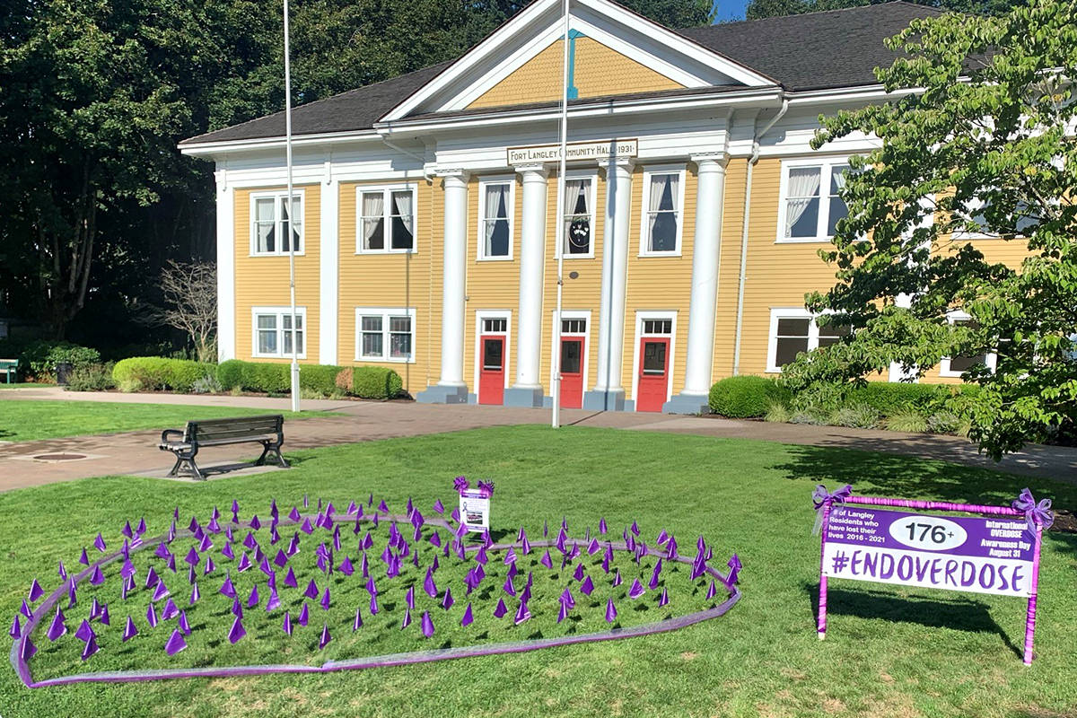 A display to raise awareness of drug overdose deaths went up on the front lawn of the Fort Langley historic community hall on Sunday, Aug,. 29. (Special to Langley Advance Times)