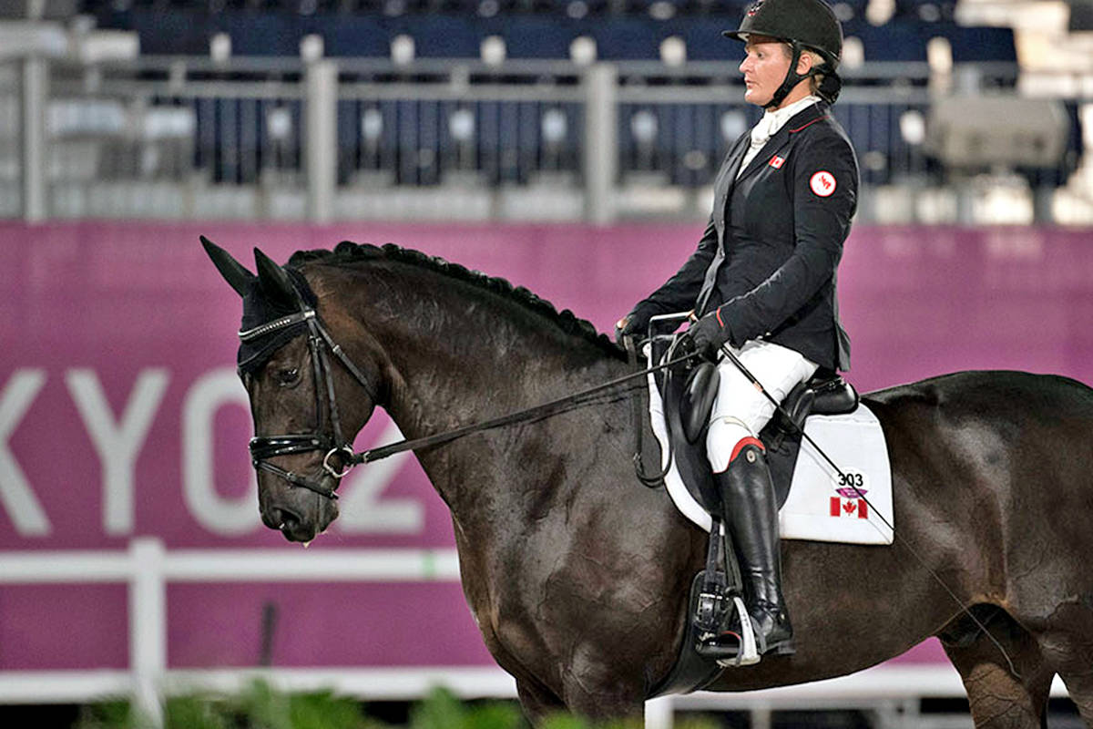 Aldergrove's Lauren Barwick and Sandrino helped boost Canada into the top-10 at the Paralympics para-dressage event in Tokyo. (Jon Stroud Media/special to Langley Advance Times)