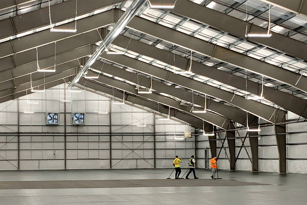 Work on the inside of the new Tennis Centre in Langley was underway in April. (file)
