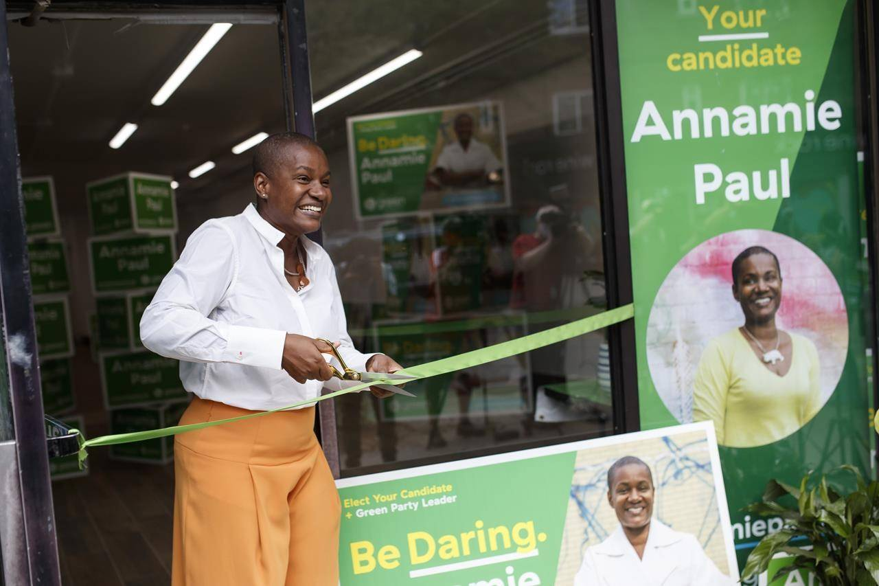 <strong>It's not easy being Green: Erosion of overall support for Paul could impact outcome in many B.C. ridings</strong>Federal Green party leader Annamie Paul cuts the ribbon of her campaign office in Toronto Centre on Thursday, July 22, 2021. THE CANADIAN PRESS/Cole Burston Federal Green party leader Annamie Paul cuts the ribbon of her campaign office in Toronto Centre on Thursday, July 22, 2021. THE CANADIAN PRESS/Cole Burston