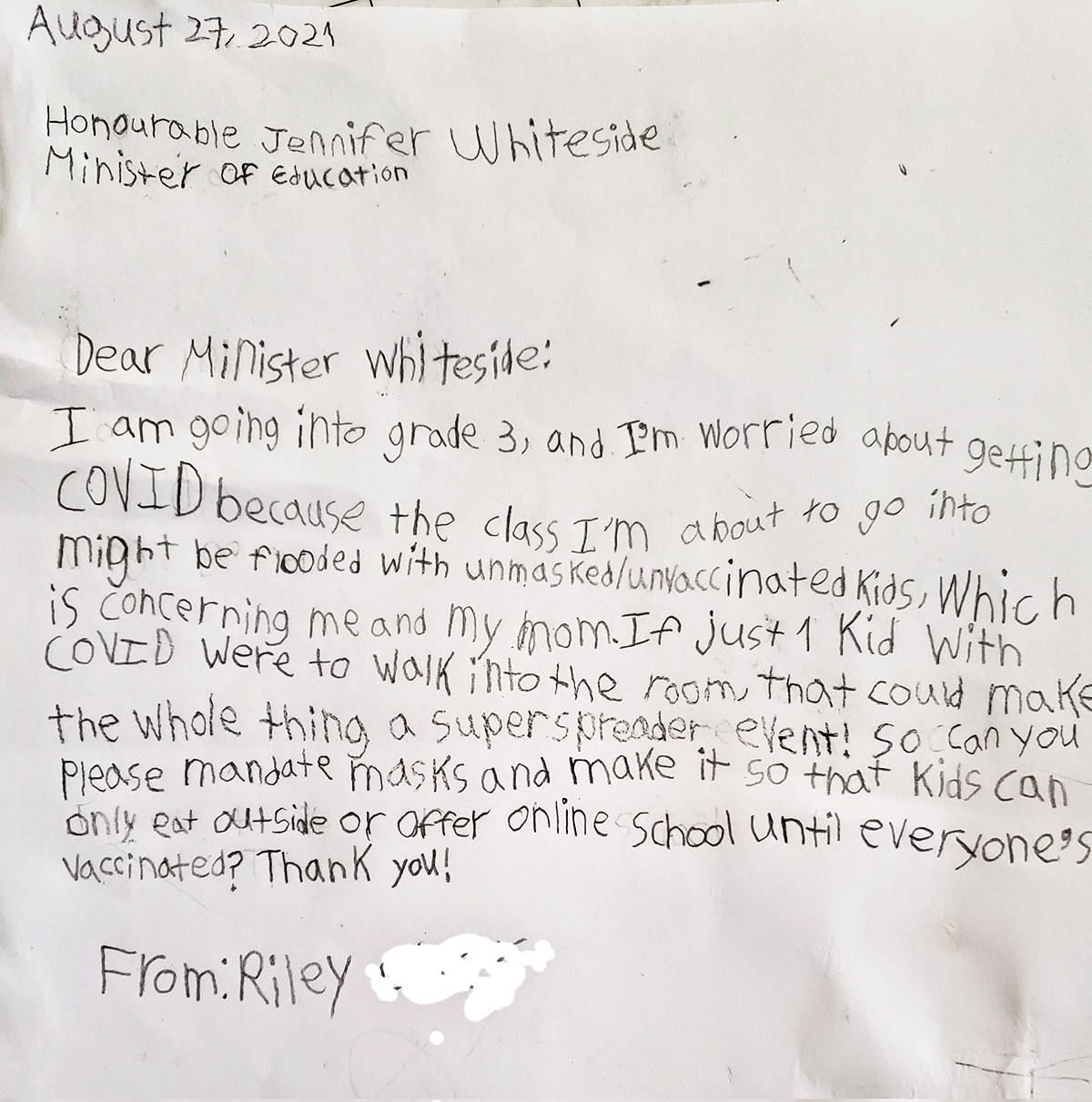 A seven-year-old has written to Education Minister Jennifer Whiteside asking for more safety measures in schools for younger kids who cannot be vaccinated. (Tweet)