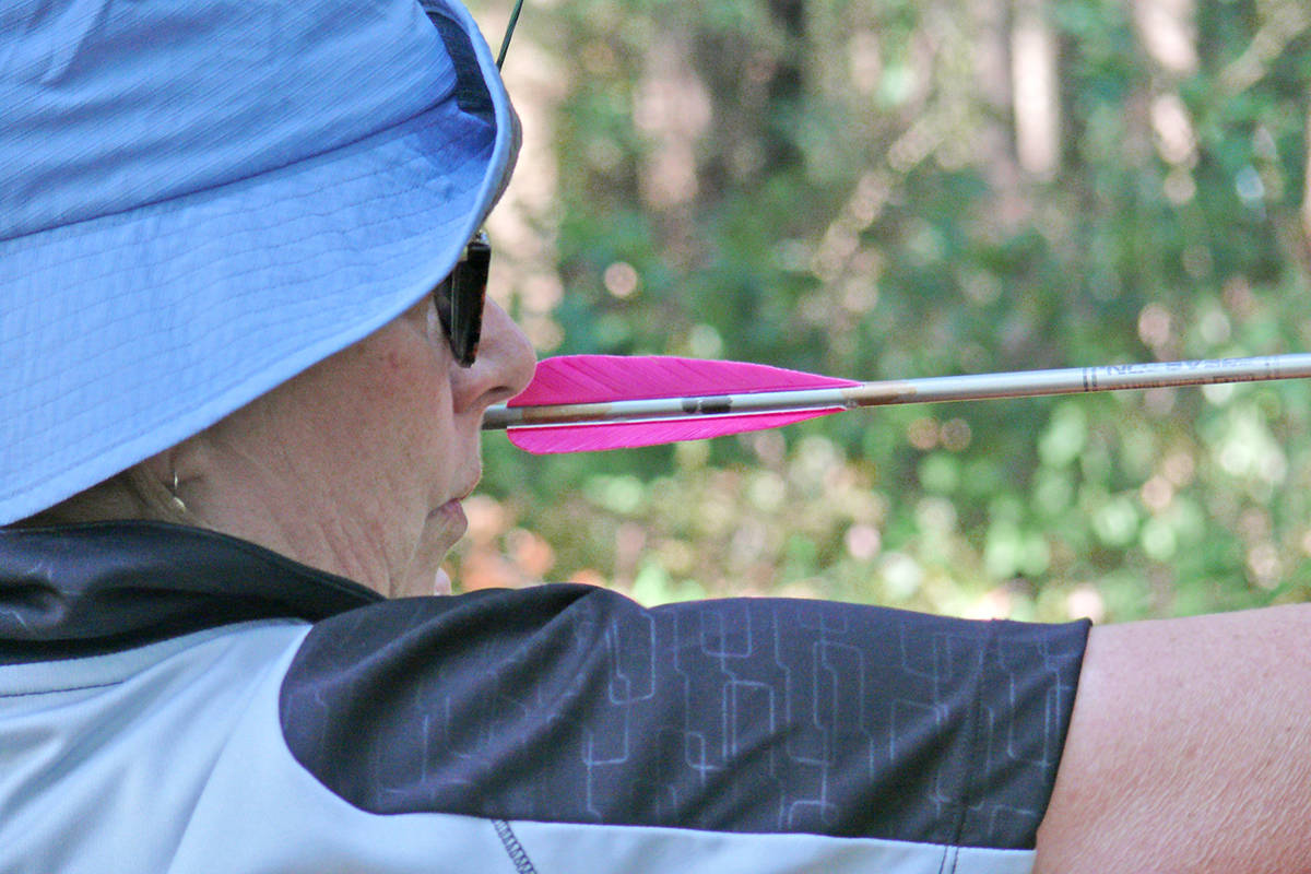 Liz Bodegon from New Westminster, a former Langley resident, was among more than 100 archers signed up for a Langley Rod and Gun Cub 3D archery event that sent people into the woods after Styrofoam targets on Sunday, Aug. 29. (Dan Ferguson/Langley Advance Times)