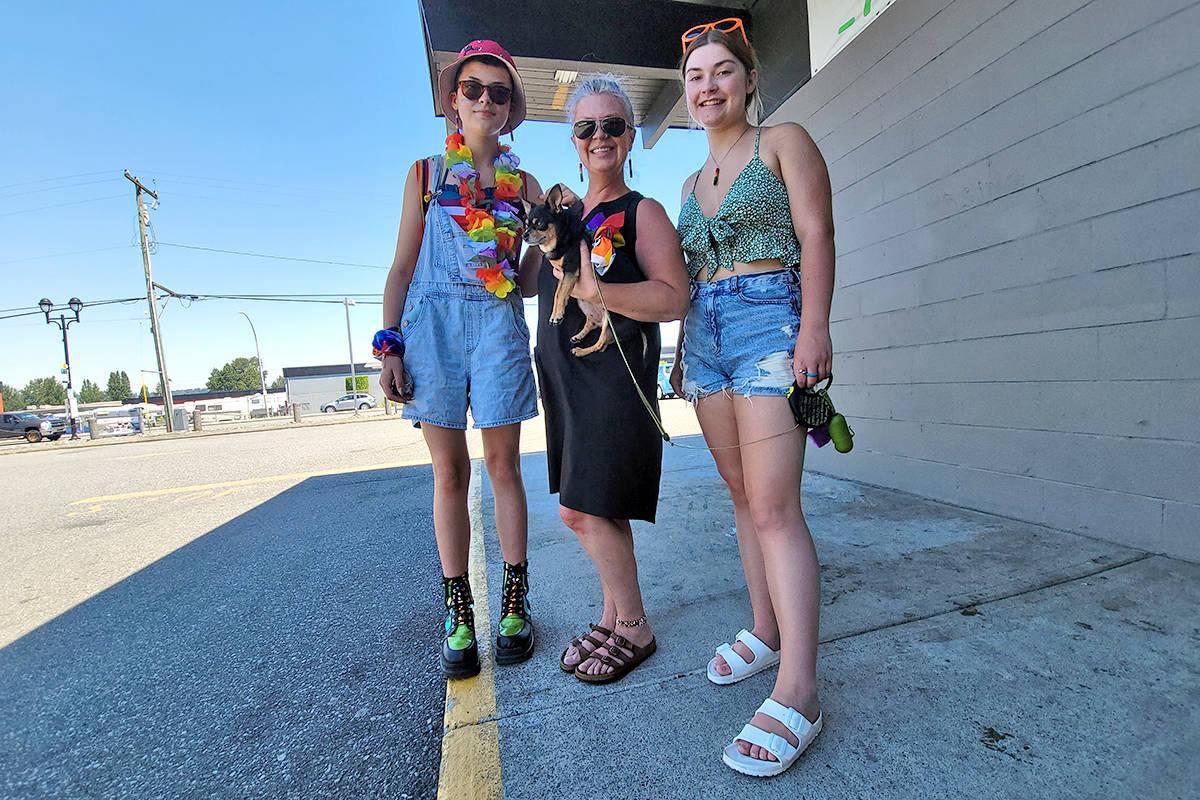 "Tessa Hawk, Jodi Higgs, and Sullivan Hawk from Aldergrove took part in the second annual Langley Pride event, calling it an ""important"" event. (Dan Ferguson/Langley Advance Times)"