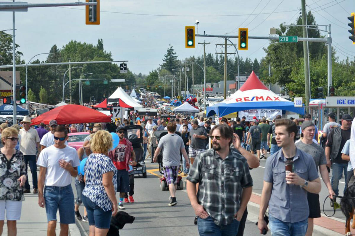 The marketplace at the Langley Good Times Cruise-In features food, car parts, and sponsors all set-up down Fraser Highway. (Black Press Media files)