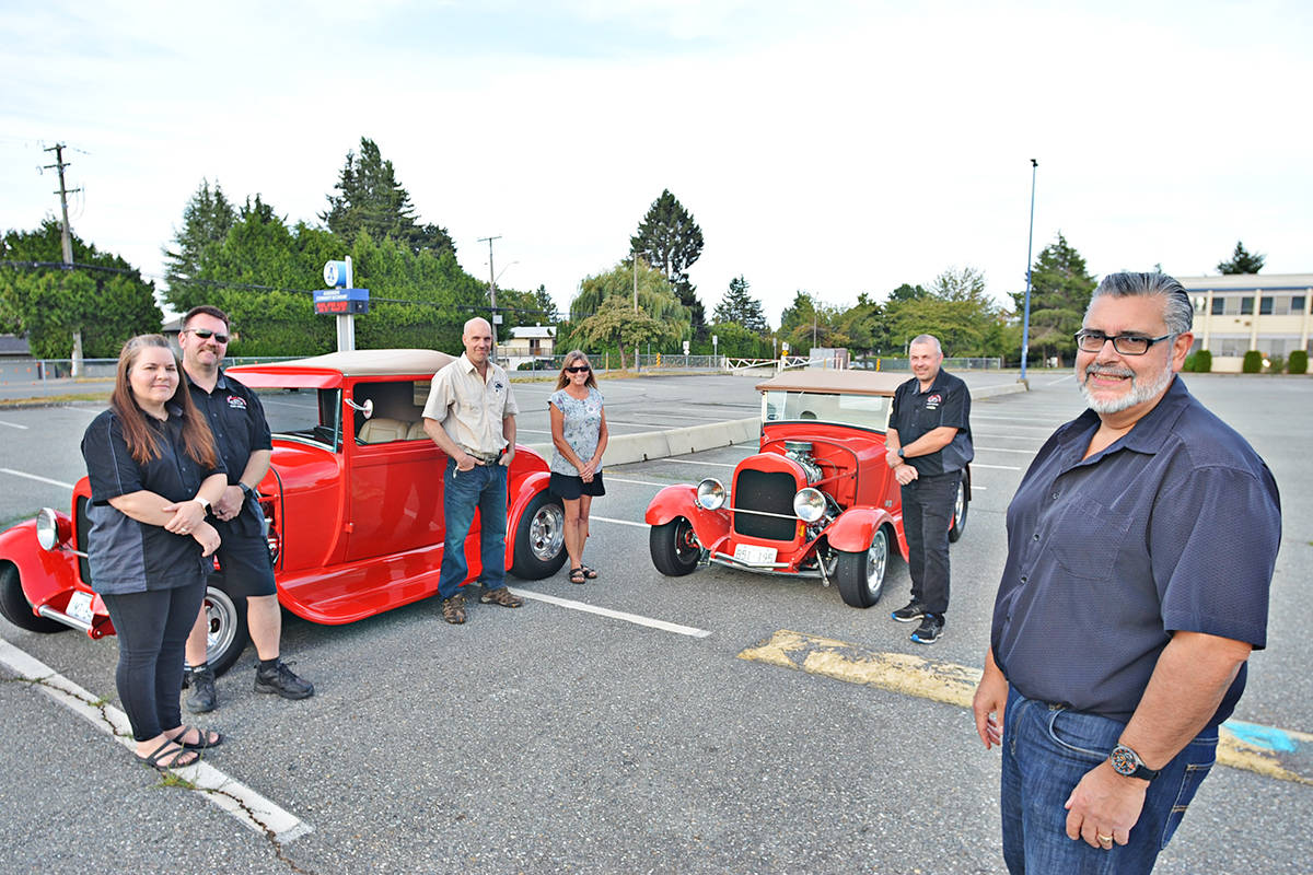 Kyla and Chris Cowx, Bruce Pihan, Vicki Krickemeyer, Nick Goodrick, and Riccardo Sestito are some of the volunteers who sit on the board of the Langley Good Times Cruise-In. (Not able to attend the photo shoot: Wayne Patterson, Kevin Bennett and Holly Trytko) (Heather Colpitts/Langley Advance Times)