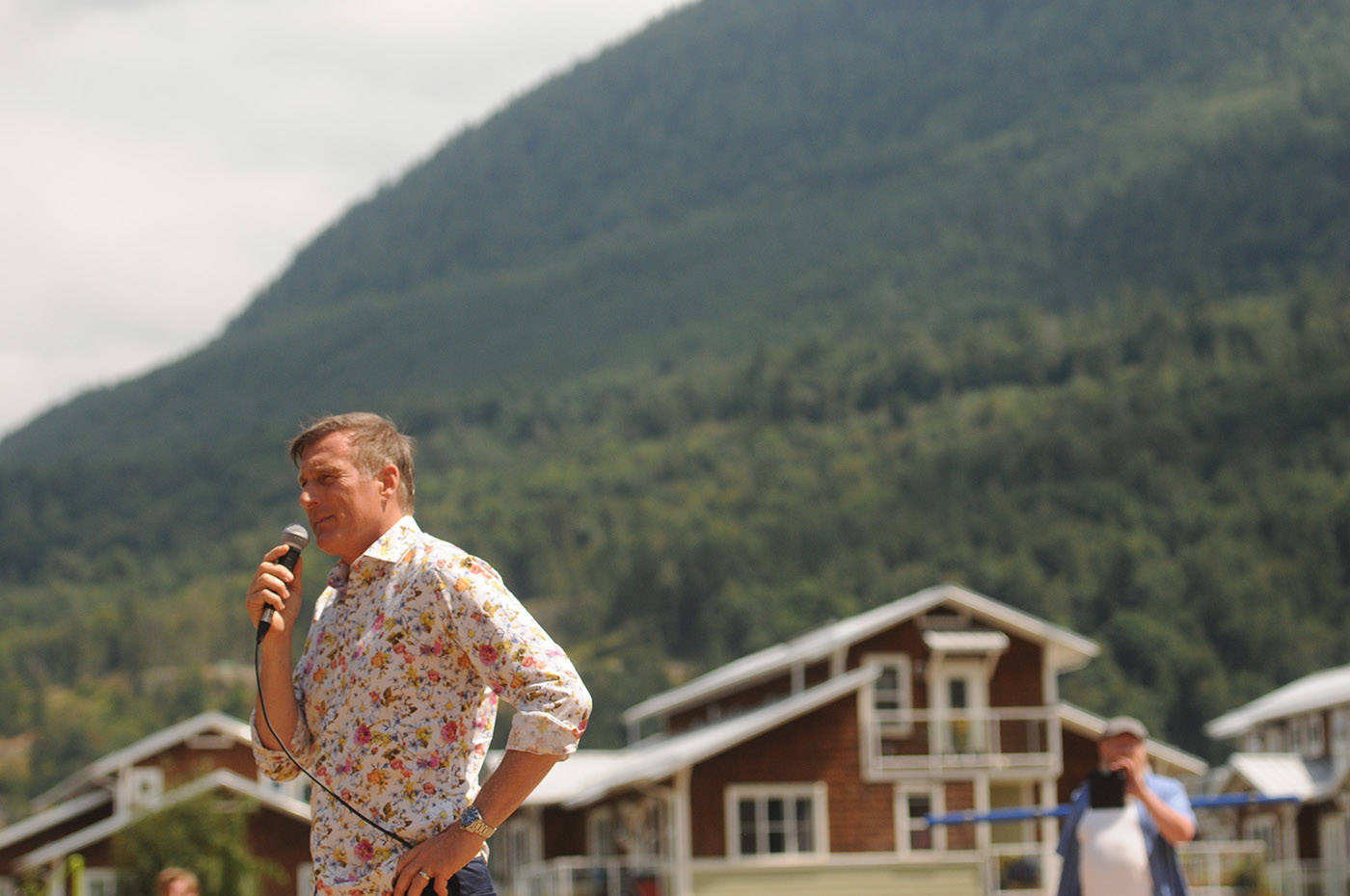 Maxime Bernier, leader of the People's Party of Canada, speaks during a stop on his Mad Max Summer 2021 Pre-Election Tour at Yarrow Pioneer Park on Saturday, July 17, 2021. (Jenna Hauck/ Chilliwack Progress file)
