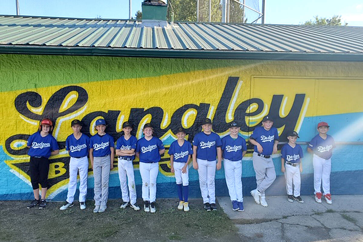 Langley Baseball representatives, DLBA executive director, members of Langley City council, City parks staff and the muralist met Sept. 7 to celebrate the soft unveiling of the Langley Baseball Association's new clubhouse mural. The kids also admired the recent addition. (Special to Langley Advance Times)