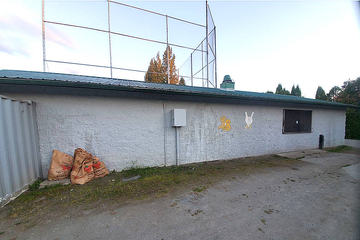 A series of murals by artist Judy Pohl have helped transform the City Park clubhouse, as seen in these before and after pictures. (Special to Langley Advance Times)