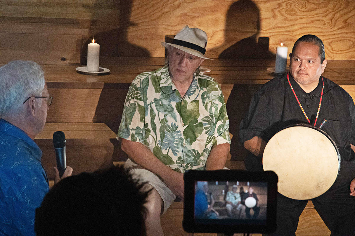 Dave Quinn (left) festival artistic director and Dennis Leon (Cultural Advisor, Kwantlen First Nations) at the taping of the streaming concert. (photo by All in One Productions)