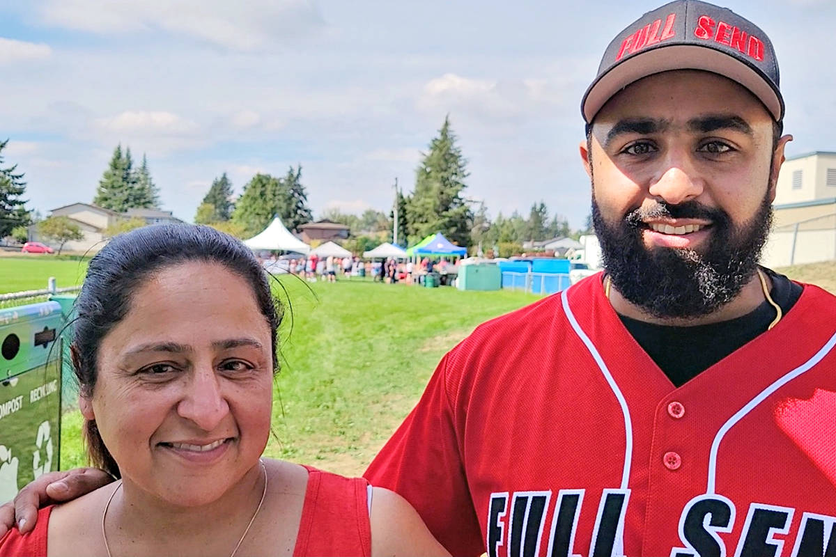Jodi Mangat and son Aman explained how personal an issue cancer is for them at the family's first ball tournament fundraiser. (Dan Ferguson/Langley Advance Times)