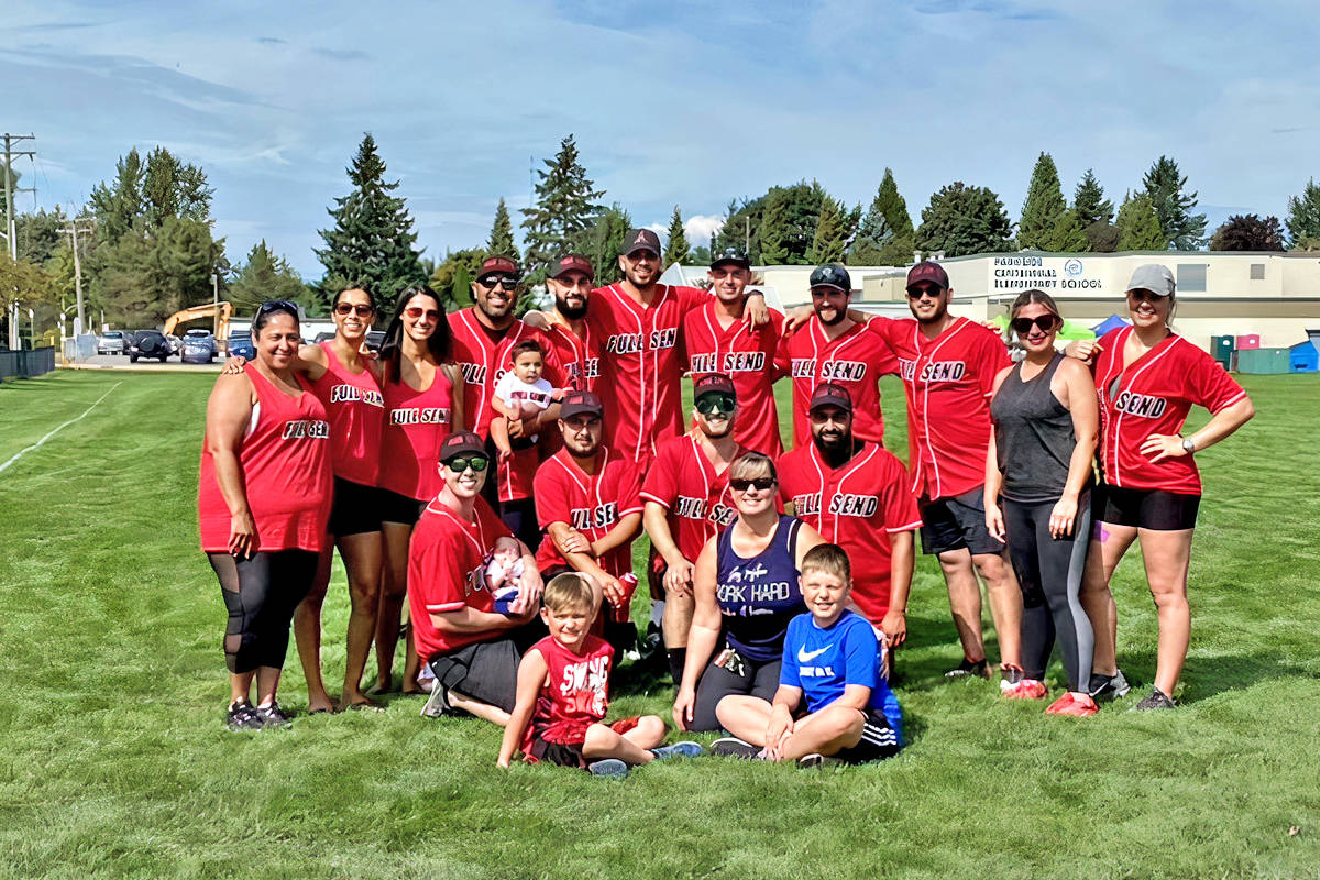 Tonya Annecchini and two of her sons, Cole and Tyson, were on hand to meet supporters at the Mangat family softball tournament fundraiser to fight cancer on Sunday, Aug. 29, 2021 in Aldergrove. (Special to Langley Advance Times)