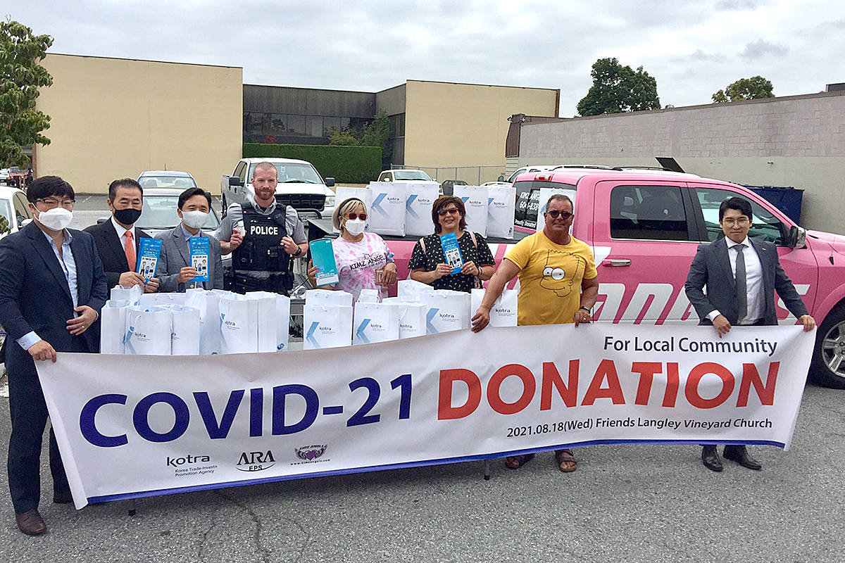 The donation of masks and sanitizer was given to Langley Vineyard Church and will be handed out to those in need through Kimz Angels. (Special to Langley Advance Times)