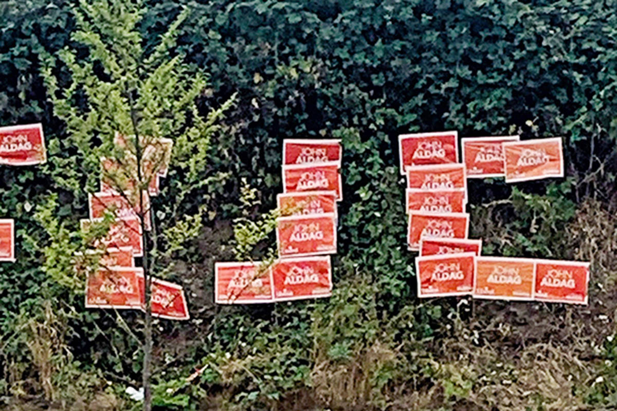 A vandal rearranged John Aldag lawn signs that had spelled JOHN to spell a different four-letter word near Penzer Park in Langley City. (special to the Langley Advance Times)
