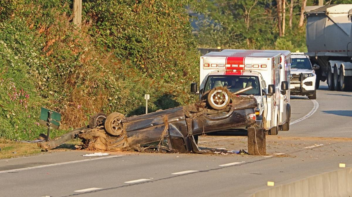 One person was airlifted to hospital after a single-vehicle rollover crash in the 25400 block of Lougheed Highway, near Spilsbury Street, on Aug. 31, 2021. (Shane MacKichan/Special to The News)
