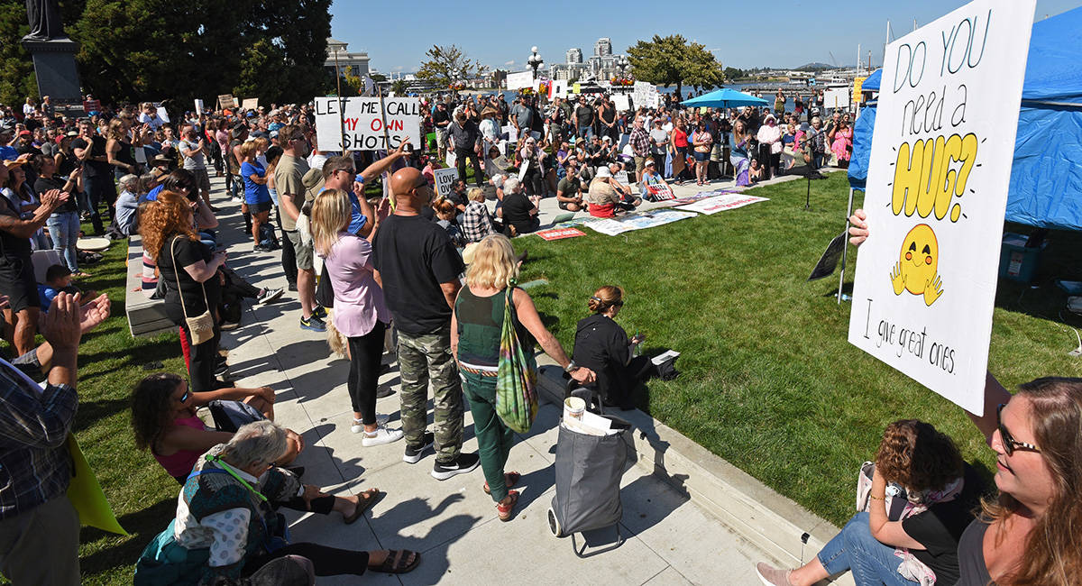September 1, 2021 - Anti vaccine and mask protesters gather outside the Legislature buildings and along Belleville Street for a noon-2pm demonstration. Don Denton photograph