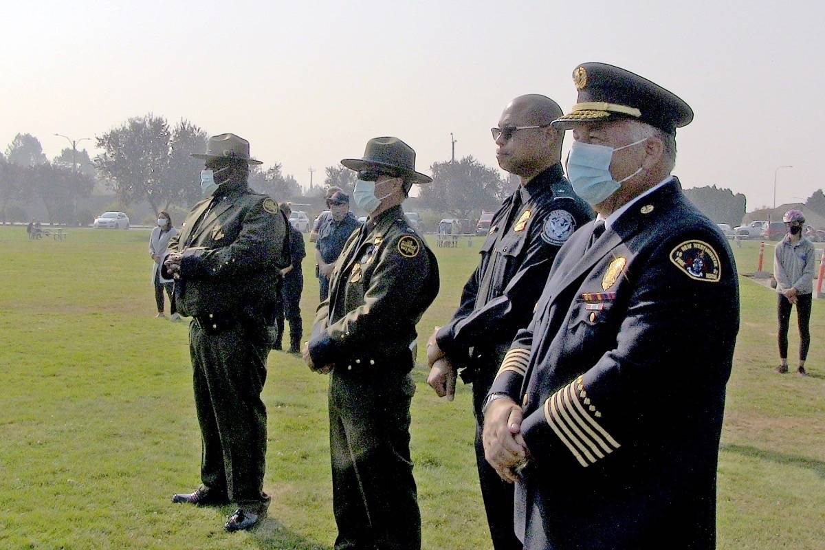 U.S. and Canadian officials gathered at Peace Arch Park on Sept. 11, 2020 to pay tribute to those who lost their lives in the 2001 terrorist attacks. (John Kageorge photo)