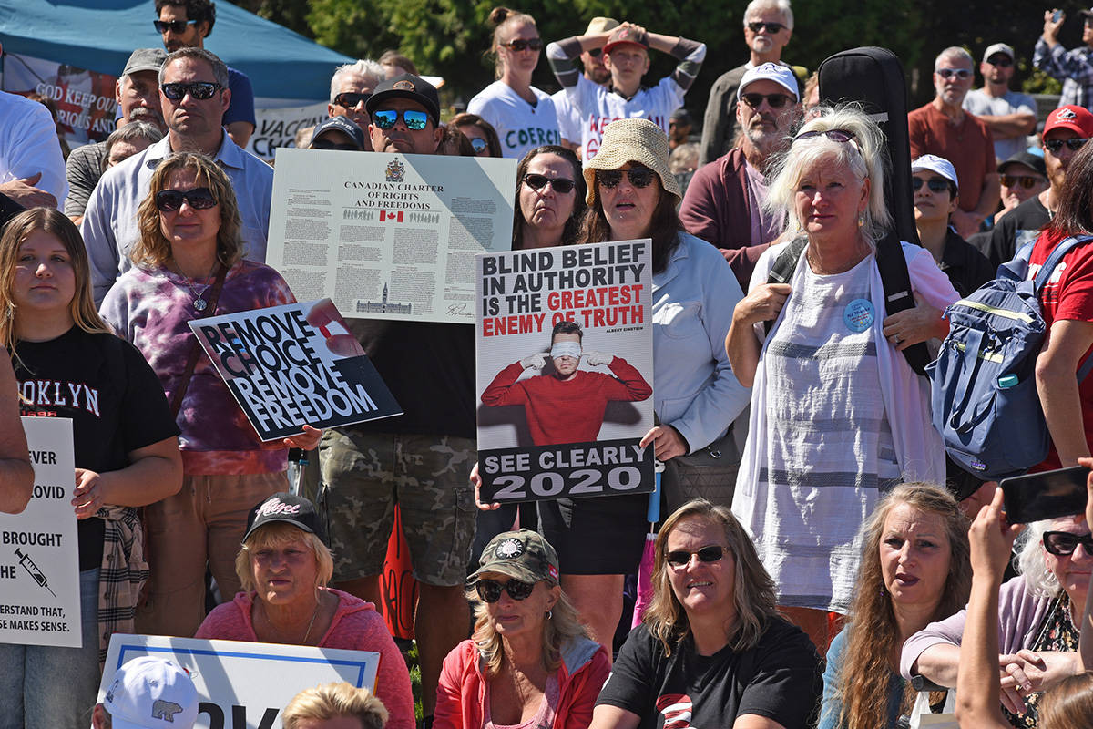 A large crowd of mostly unmasked protesters gathered at the B.C. Legislature to protest public health measures on Sept. 1. (Don Denton/VicNews)