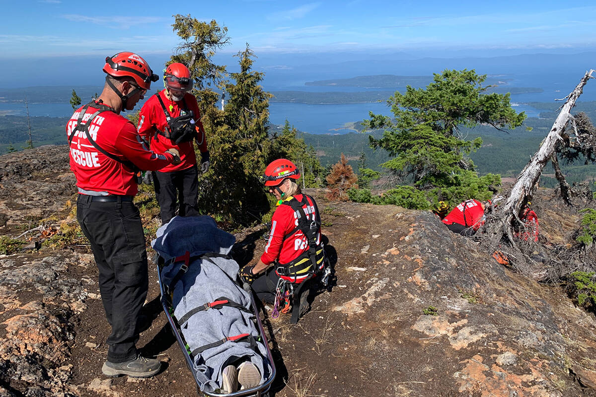 Arrowsmith Search and Rescue rescues an injured quad rider in the Cook Creek area on Vancouver Island on Wednesday, Aug. 18, 2021. (Arrowsmith Search and Rescue)