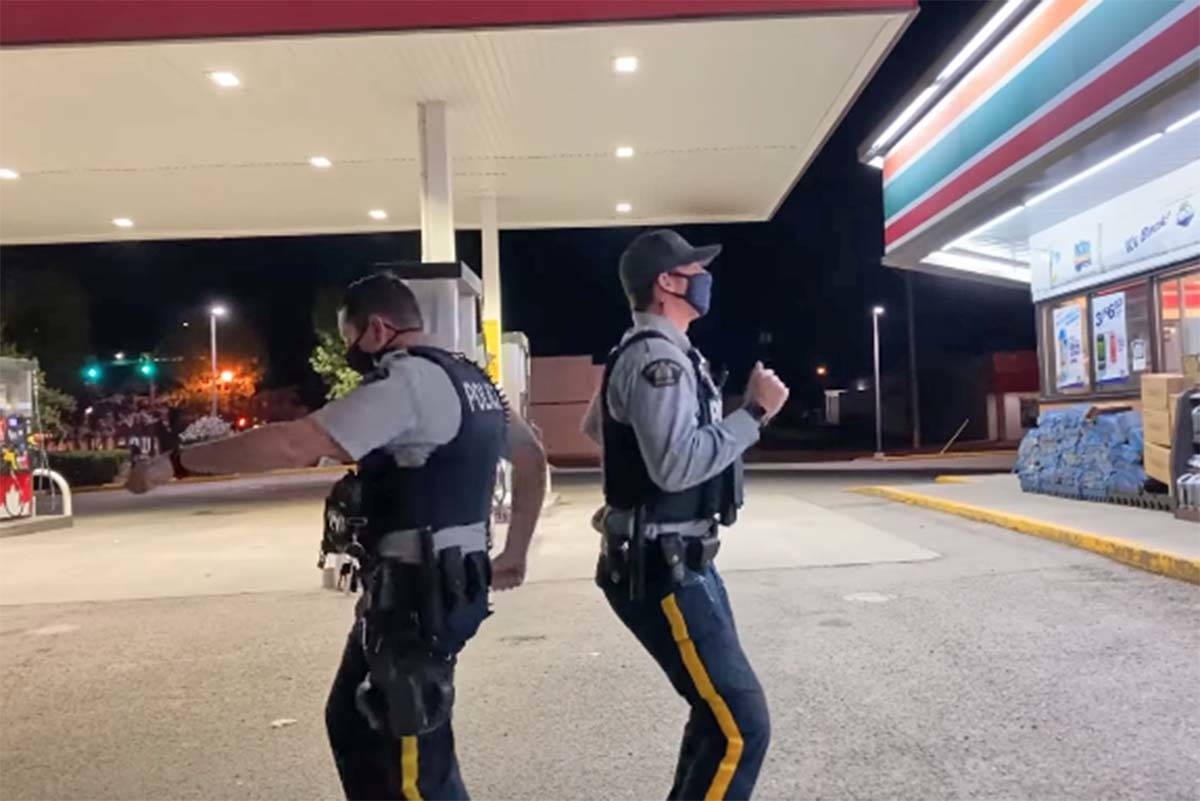 A video of two RCMP officers dancing outside of 7-Eleven in Vanderhoof by Ada Madam has received more than 10,000 views on Facebook as of Wednesday, September 1. (Facebook image)