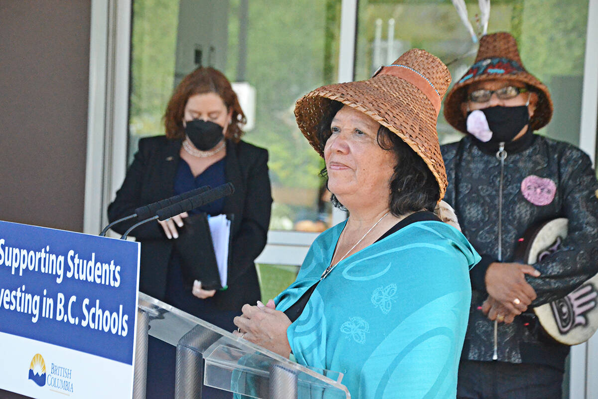 Donna Gabriel Robins spoke at an event to mark the opening of Langley's new elementary school, which is named after her. (Matthew Claxton/Langley Advance Times)