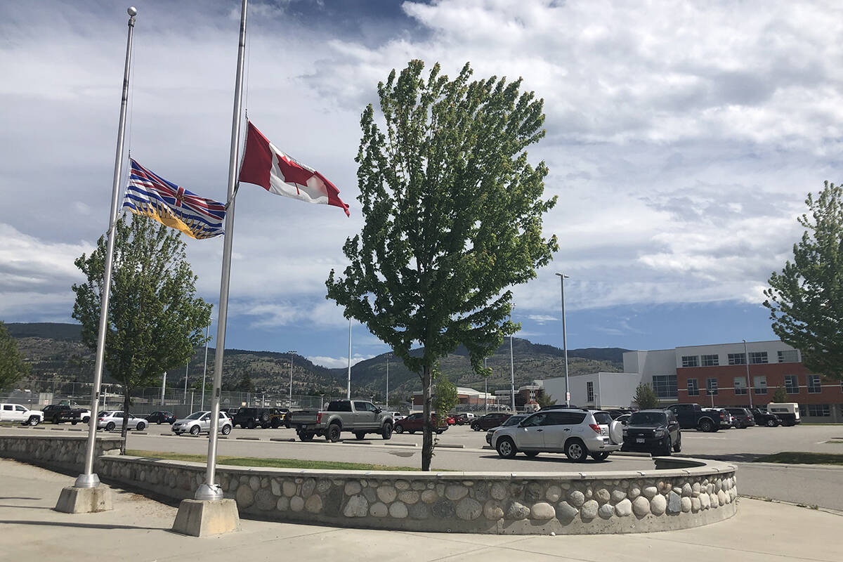 Flags fly at half mast at Pen-High and all school properties across SD67 out of respect of the 215 children's graves found at the Kamloops residential school. (Monique Tamminga Western News)