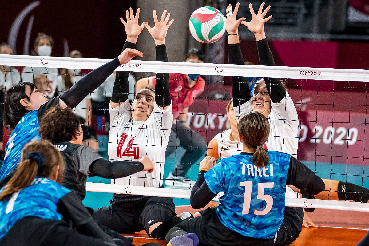 Katelyn Wright (left) and Heidi Peters (right) will be back on court with the women's sitting volleyball team on Friday for the semifinals versus China. (Canadian Paralympic Committee's Dave Holland/Special to Langley Advance Times)
