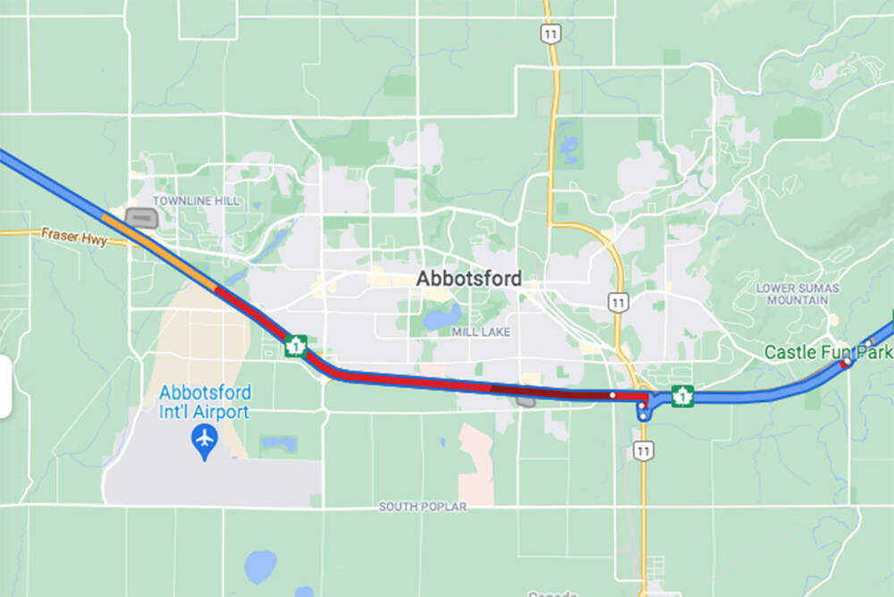 Expect traffic delays through Abbotsford as crews deal with both a fire and a rolled over car in two separate areas. (Google Maps)