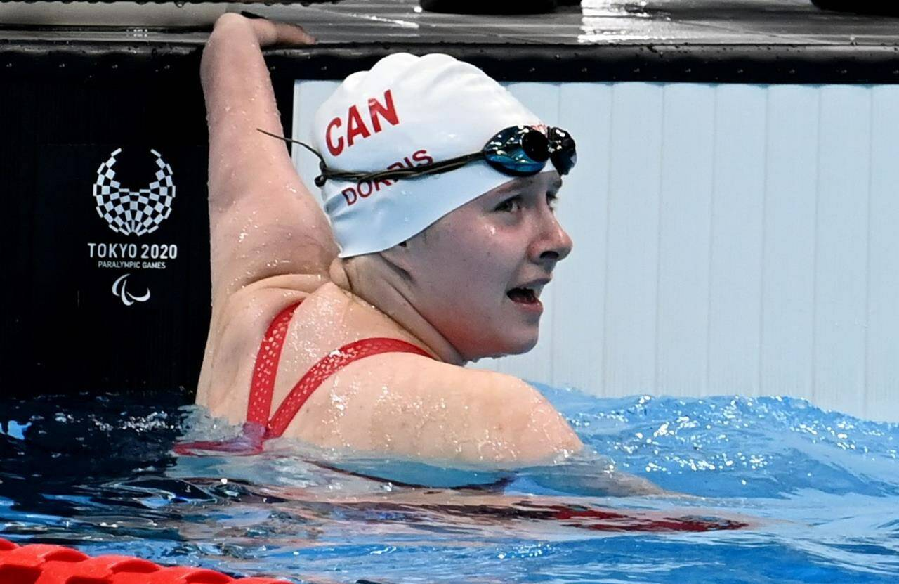 Canada's Danielle Dorris checks her time after winning a gold medal in the women's 50m butterfly at the 2020 Paralympic Games in Tokyo, Japan on Friday, Sept.3, 2021. THE CANADIAN PRESS/HO-Canadian Paralympic Committee-Scott Grant