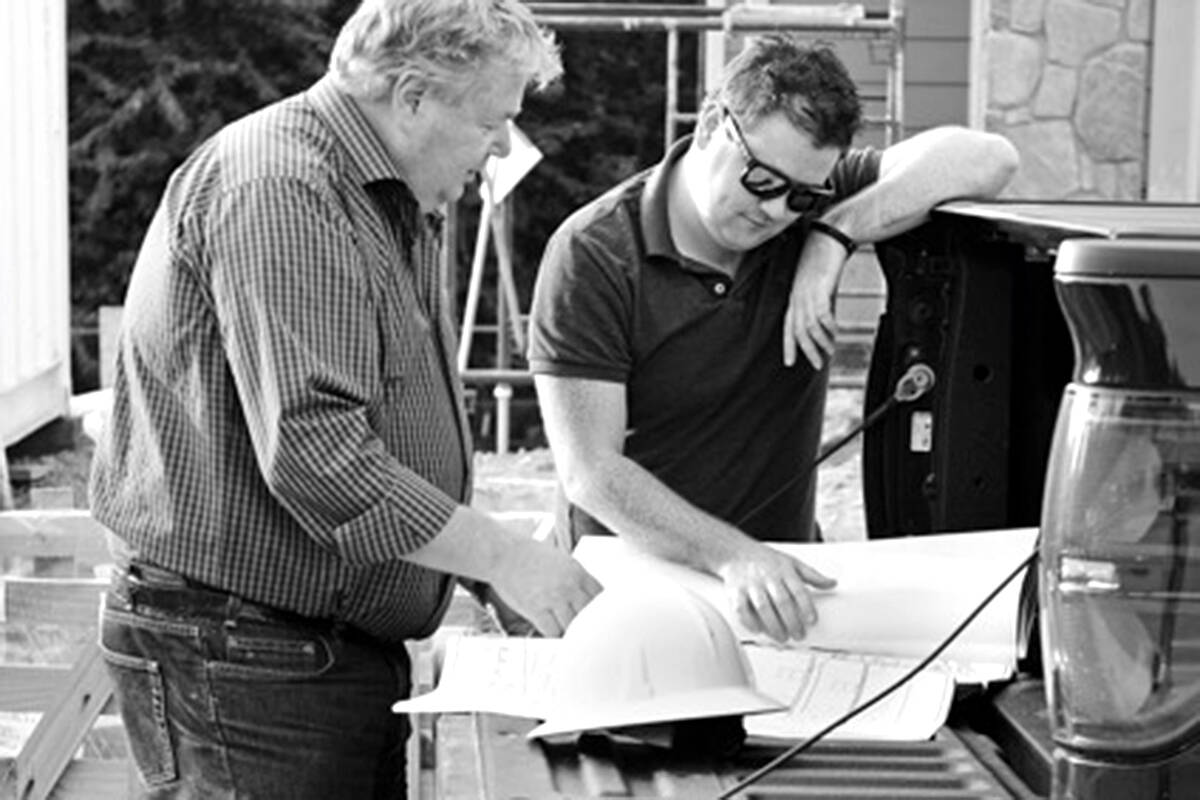 This year's PNE prize home is located on McNally Creek Drive in South Surrey, was built by Langley builders from Distrikt Homes, including company owner Michael Pecchia (right). The home is complete now, but Pecchia shared some of the pictures during the construction process. (Special to Langley Advance Times)