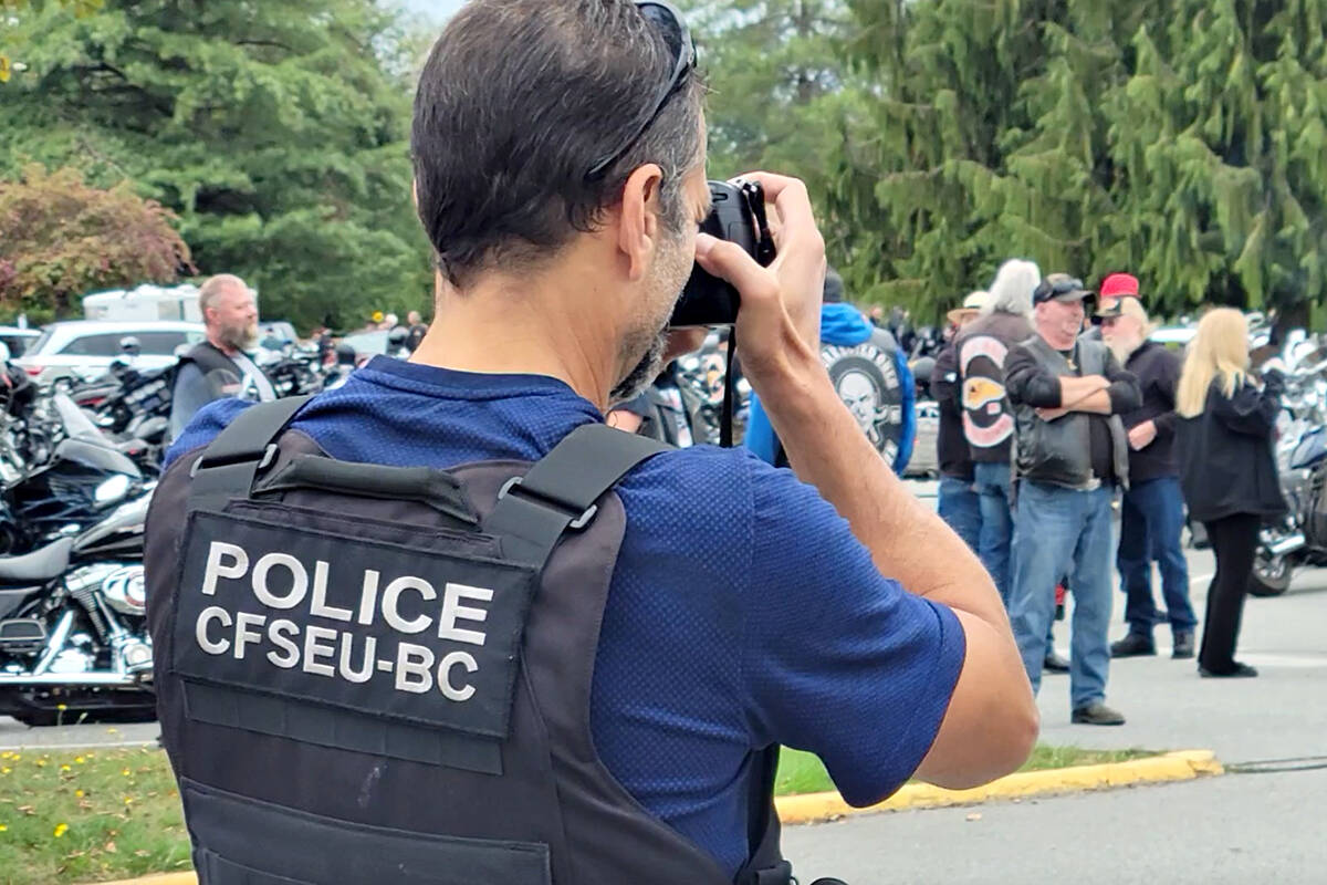 Police were taking photos of riders from motorcycle clubs across Canada who attended the Langley service for the president of the Haney chapter of the Hells Angels, Mike Hadden on Saturday, Sept. 4. (Dan Ferguson/Langley Advance Times)