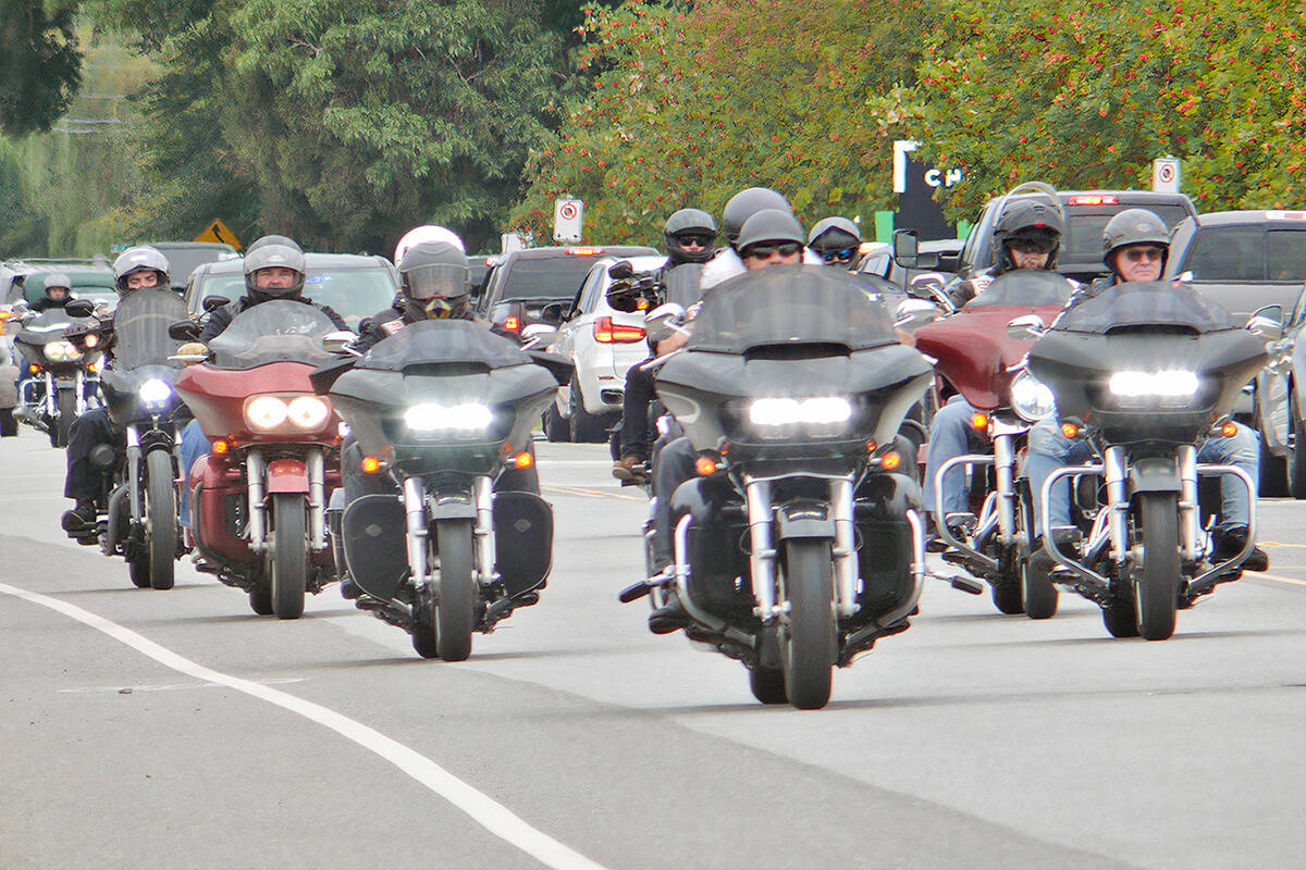 Between 1,000 and 1,500 riders from motorcycle clubs across Canada attended the Langley service for the president of the Haney chapter of the Hells Angels, Mike Hadden on Saturday, Sept. 4. (Dan Ferguson/Langley Advance Times)