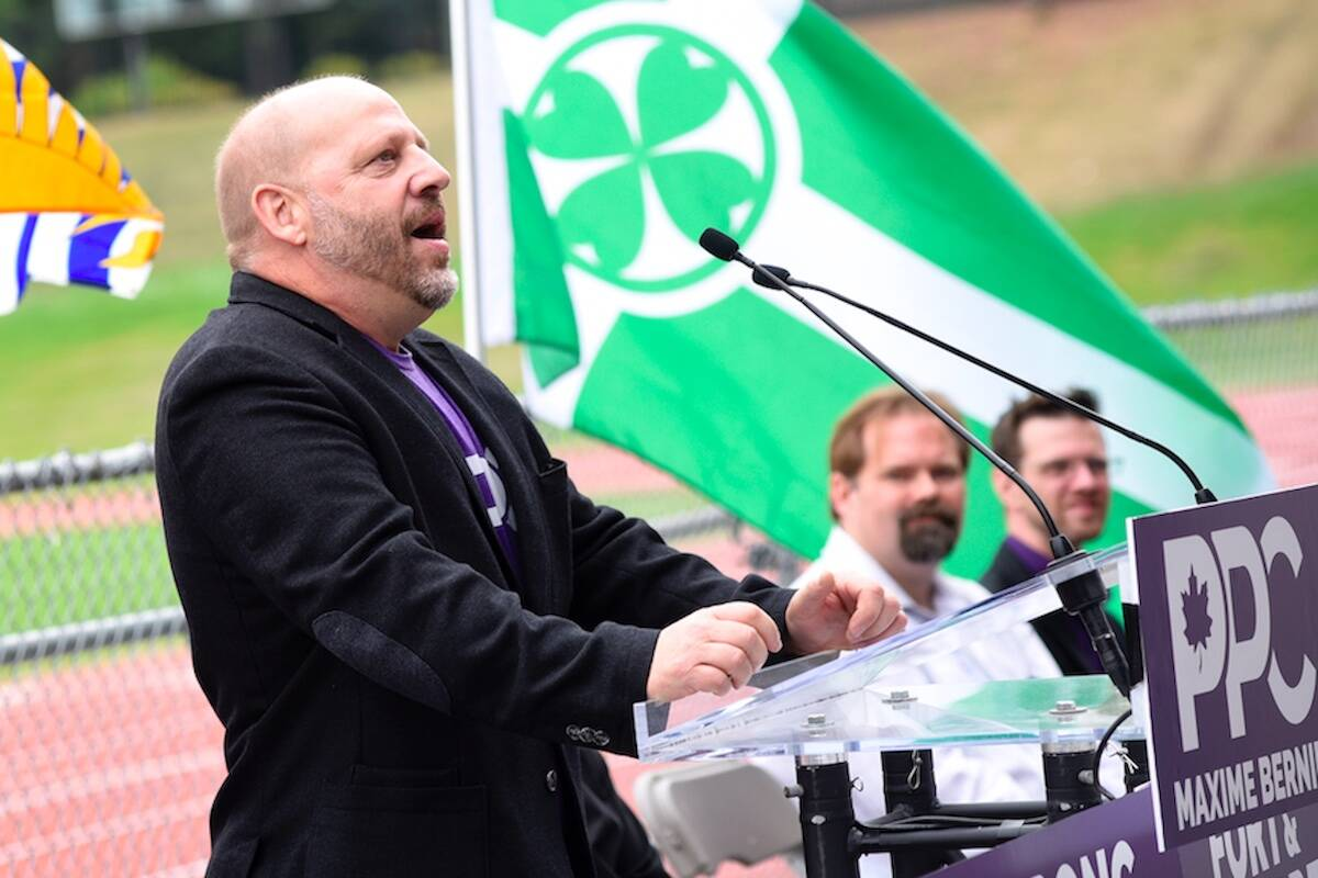 Kevin Sinclair, the People's Party of Canada candidate for the Abbotsford riding, speaks at a rally Saturday (Sept. 4) at Rotary Stadium. (John Morrow/Abbotsford News)