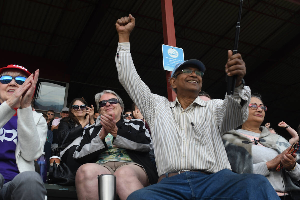 More than 500 people were in attendance Saturday (Sept. 4) at Rotary Stadium in Abbotsford for a rally featuring People's Party of Canada leader Maxime Bernier. (John Morrow/Abbotsford News)
