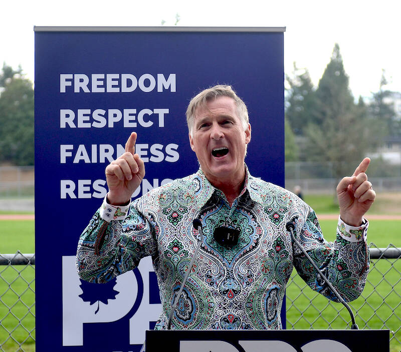 People's Party of Canada leader Maxime Bernier addresses the crowd at a rally on Saturday (Sept. 4) at Rotary Stadium in Abbotsford. (John Morrow/Abbotsford News)