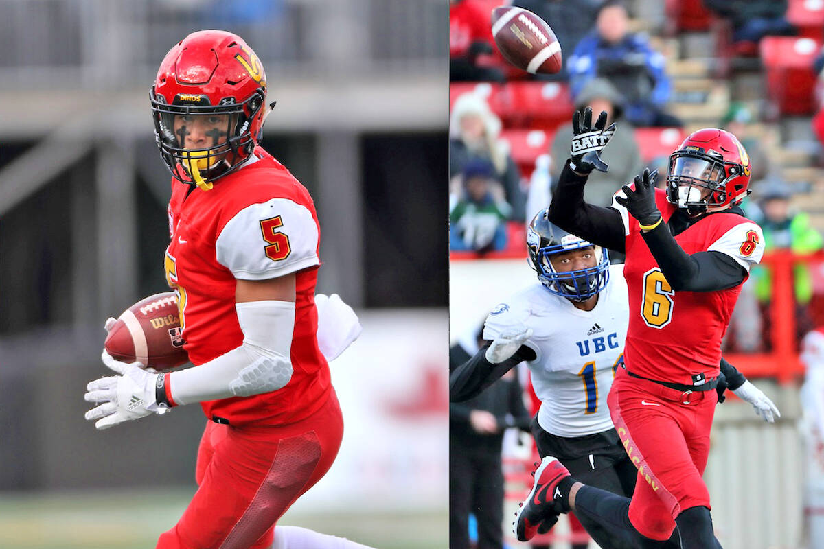 Jalen (left) and Tyson Philpot, twin sons of Langley Rams head coach Cory Philpot, have been named to the 2021 CFL prospects list of 20 top players. (David Moll / University of Calgary)