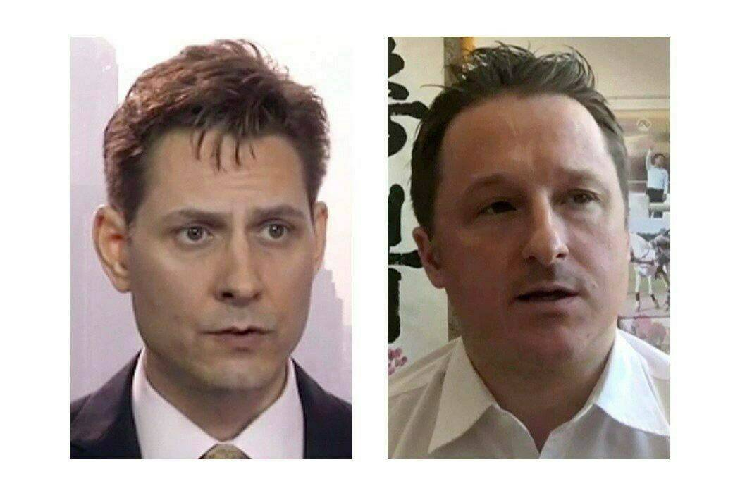 Michael Kovrig, left, and Michael Spavor are shown in a composite image of two 2018 images taken from video footage. THE CANADIAN PRESS/AP