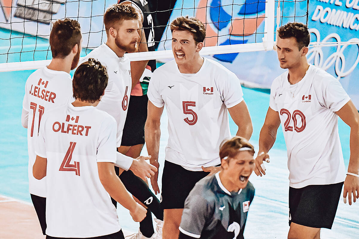 In men's volleyball competition at the Pan-Am Games, Team Canada beat Mexico Saturday, 3-1. (TWU/Special to Langley Advance Times)