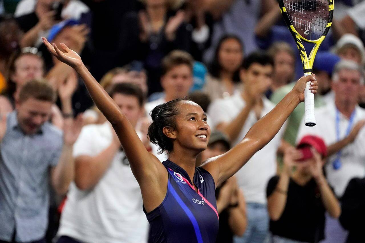 Leylah Fernandez, of Canada, reacts after defeating Angelique Kerber, of Germany, during the fourth round of the US Open tennis championships, in New York, Sunday, Sept. 5, 2021. The 18-year-old from Laval, Que., advanced to the quarterfinals of the women's draw with a hard-fought 4-6, 7-6 (5), 6-2 win over 16th-seeded German Angelique Kerber. THE CANADIAN PRESS/AP-John Minchillo