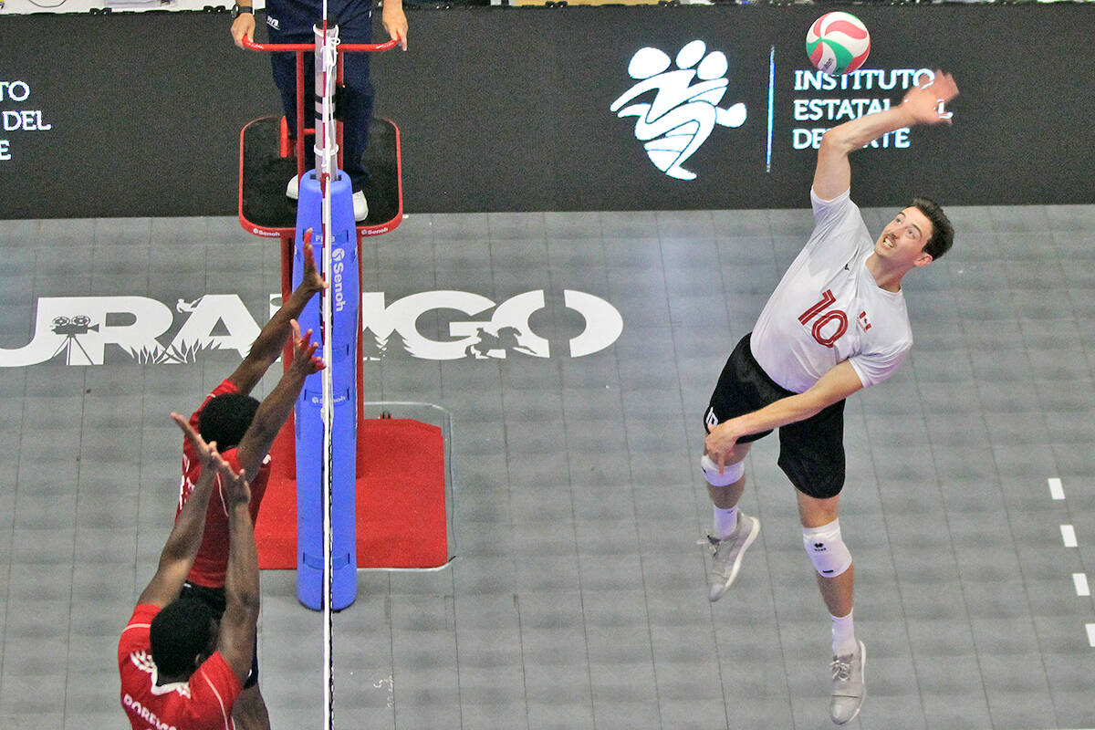 Langley's Brodie Hofer in action at the 2021 North, Central America and Caribbean Volleyball Confederation (NORCECA) continental championship in Durango, Mexico in August, where Canada won silver. (NORCECA/special to Langley Advance Times)