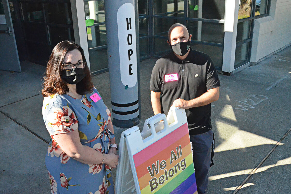 Vice-principal Courtney Robertson and principal Nathan Erker at Alex Hope Elementary in Walnut Grove welcomed back more than 500 students on Tuesday, Sept. 7. (Matthew Claxton/Langley Advance Times)