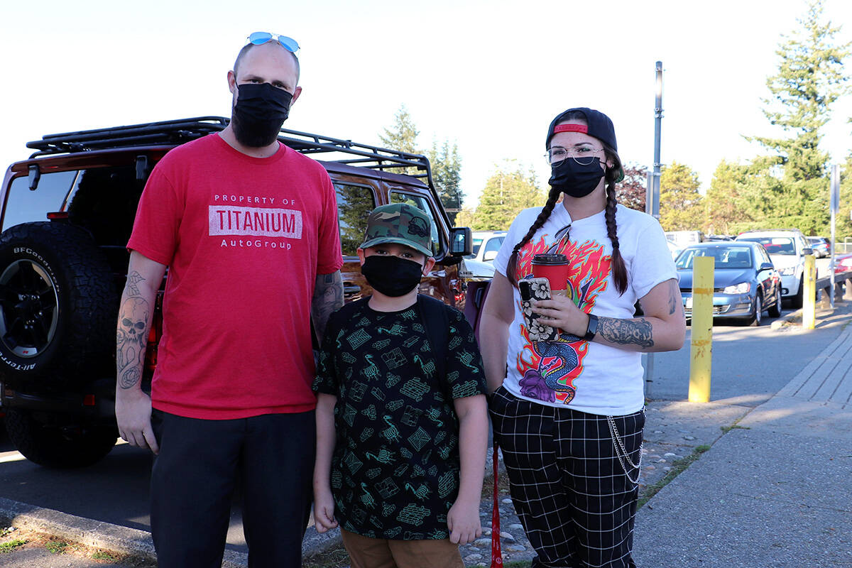 Parents Corey Reid and Shelby Truesdale sent Dacklen off to his first day of Grade 4 at Nicomekl Elementary on Sept. 7, 2021 after a year of home-schooling. (Joti Grewal/Langley Advance Times)