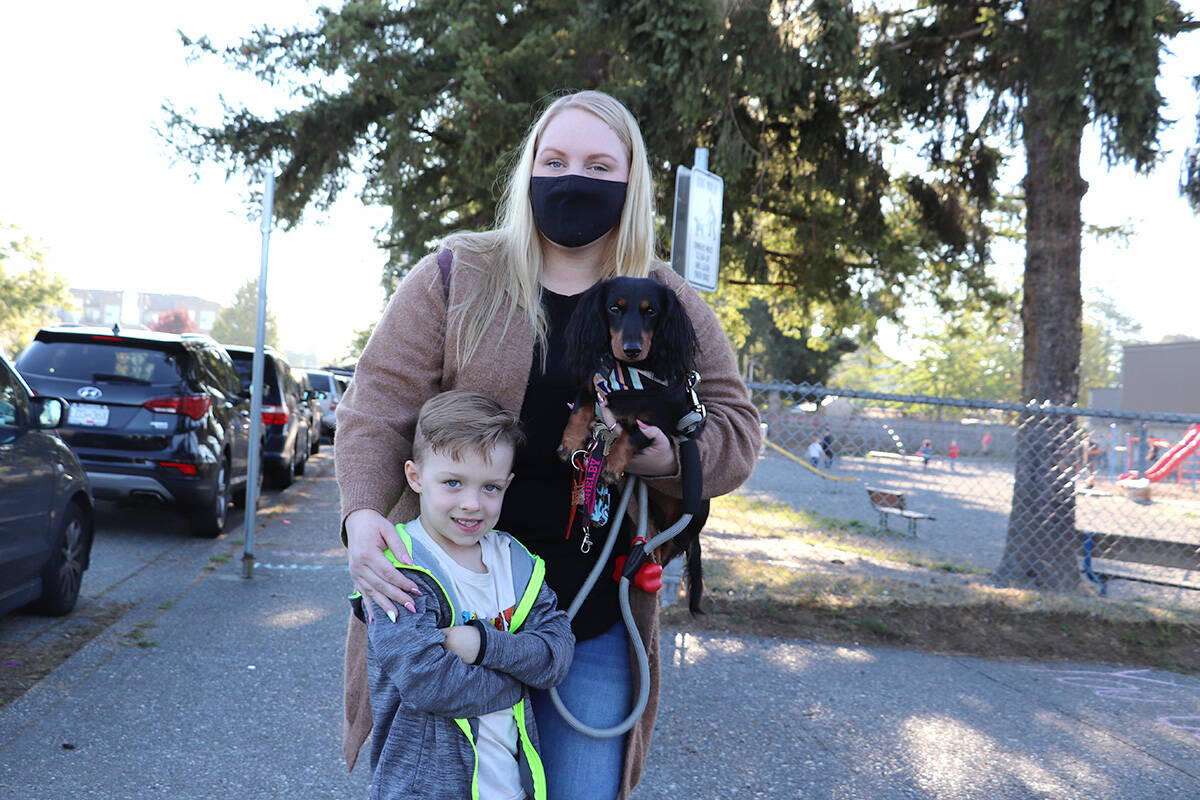 It was first school experience for mom Shelby Dingwall, who sent her son Kingston off to kindergarten at Nicomekl Elementary on Sept. 7, 2021. (Joti Grewal/Langley Advance Times)