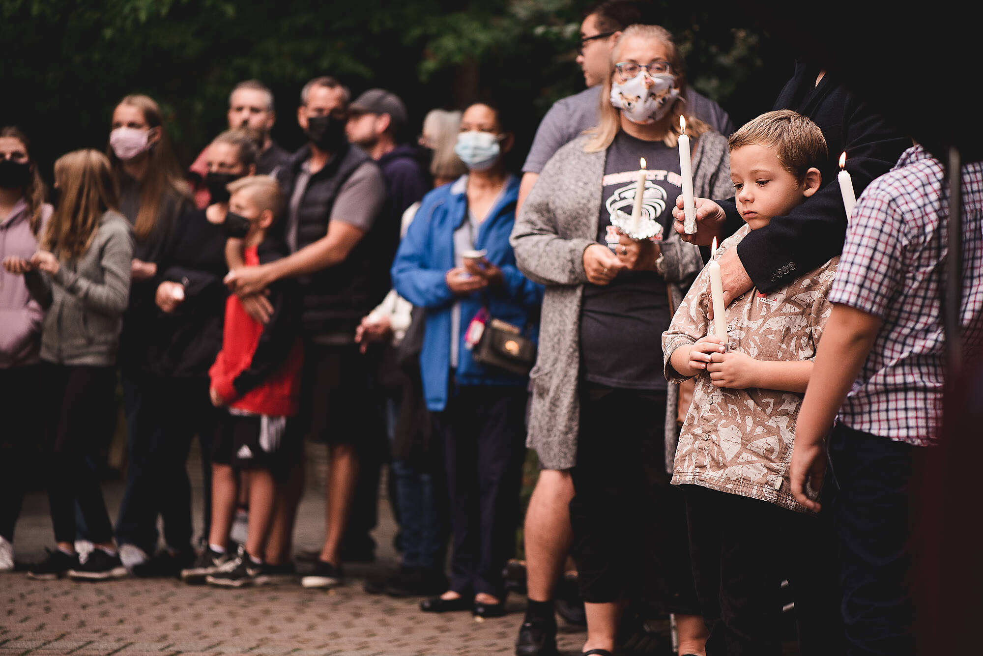 Hundreds gathered at Sendall Gardens in Langley on Sunday around 7 p.m. to light a candle for Naomi Onotera, who was last seen Aug. 28, 2021. (© JLS Photography/Special to the Langley Advance Times)